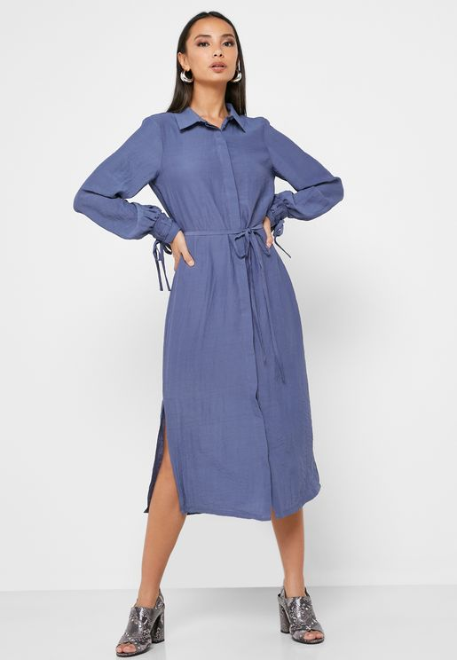 Side Split Shirt Dress