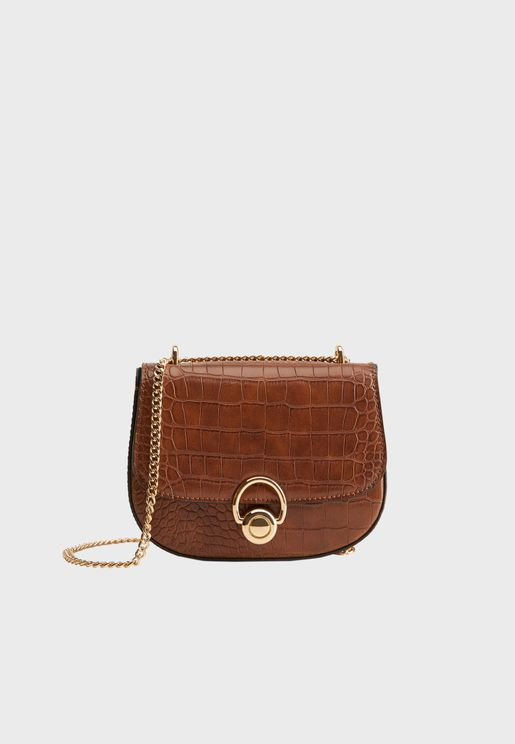 Penedes Front Button Textured Crossbody