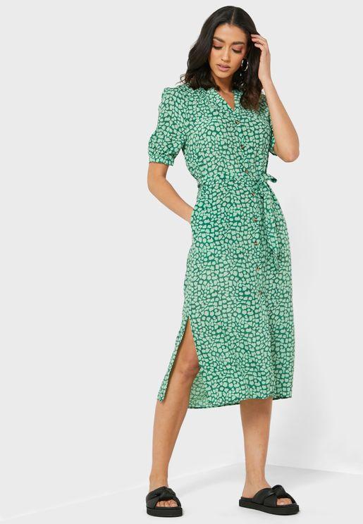 فستان بطباعة جلد زرافة