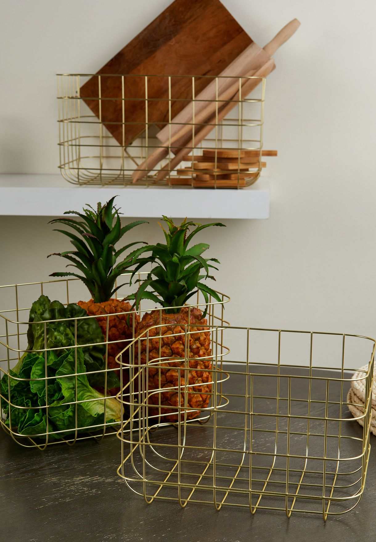 Set Of 3 Wire Storage Baskets