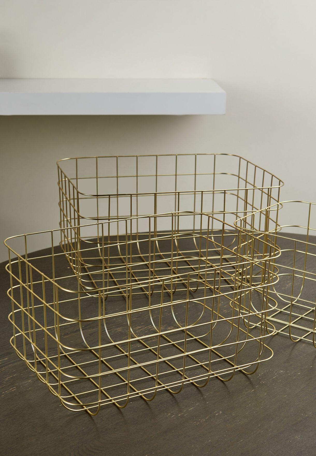 Set Of 3 Wire Storage Baskets
