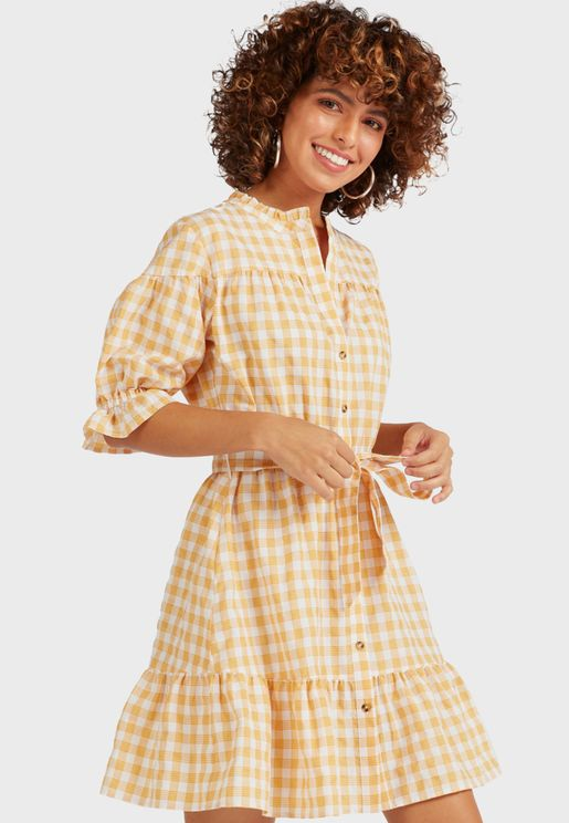 Checked Button Detail Dress