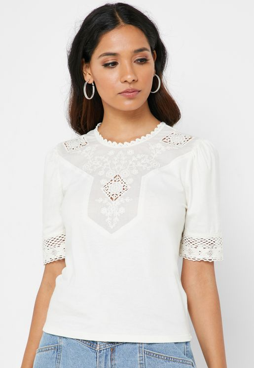 Embroidered Lace Detail Top