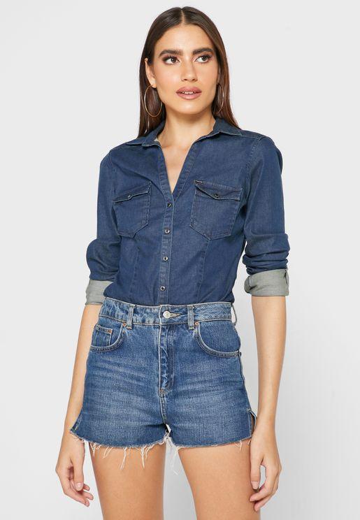 Denim Pocket Detail Shirt
