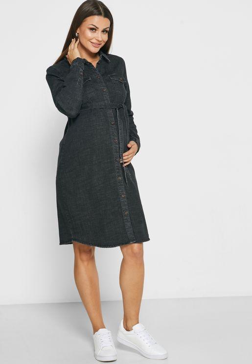 فستان جينز اربطة خصر