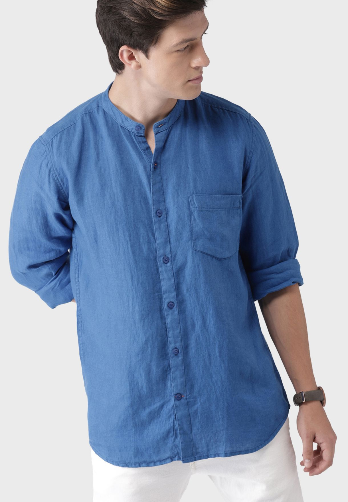 Grandad Collar Regular Fit Shirt