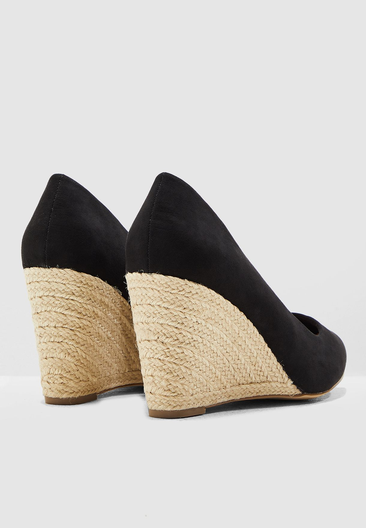 f3f3cd0e6bde Shop New Look black Wide Fit Sherry Wedge Pump - Black 61632681 for ...