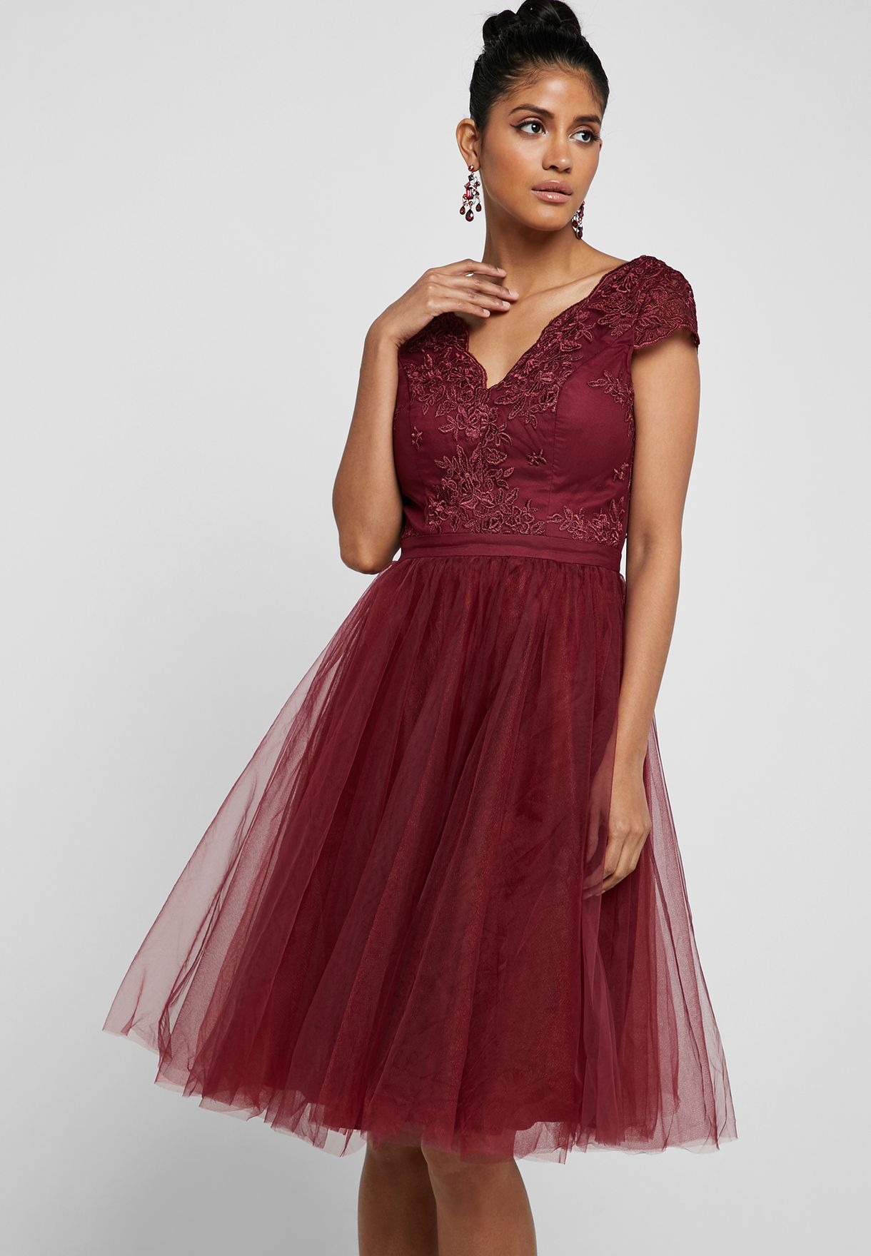 Embroidered Top Tulle Skirt Dress