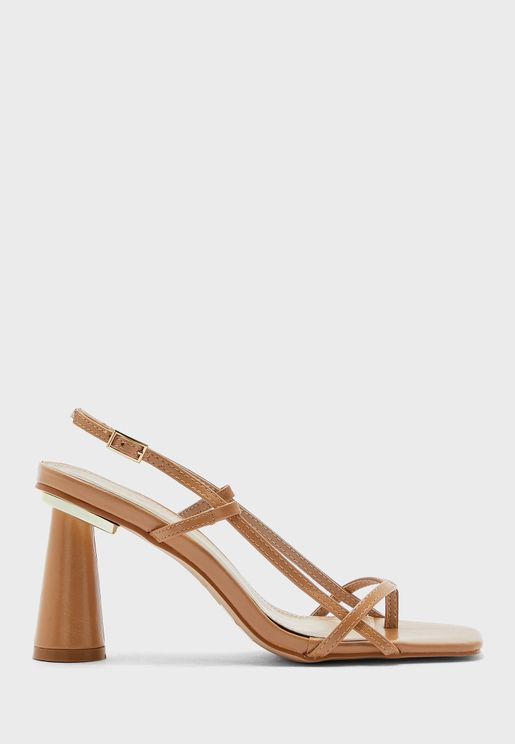 Strappy Square Toe Flared Heel Sandal
