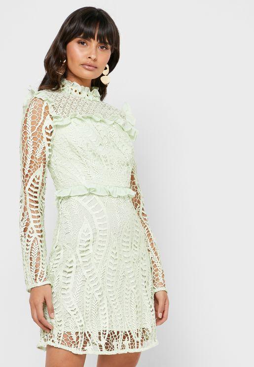 High Neck Ruffle Lace Dress