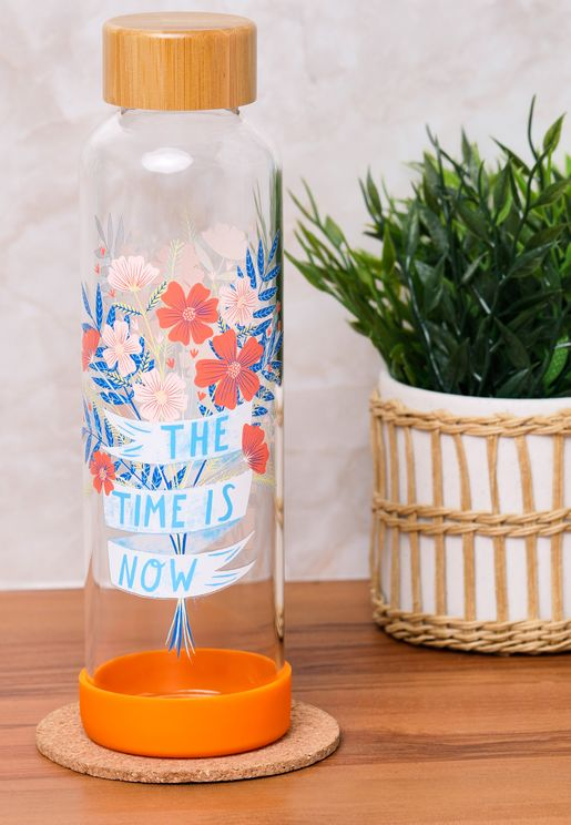 The Time Is Now Glass Water Bottle