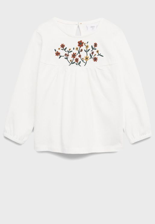 Infant Embroidered Flower Top