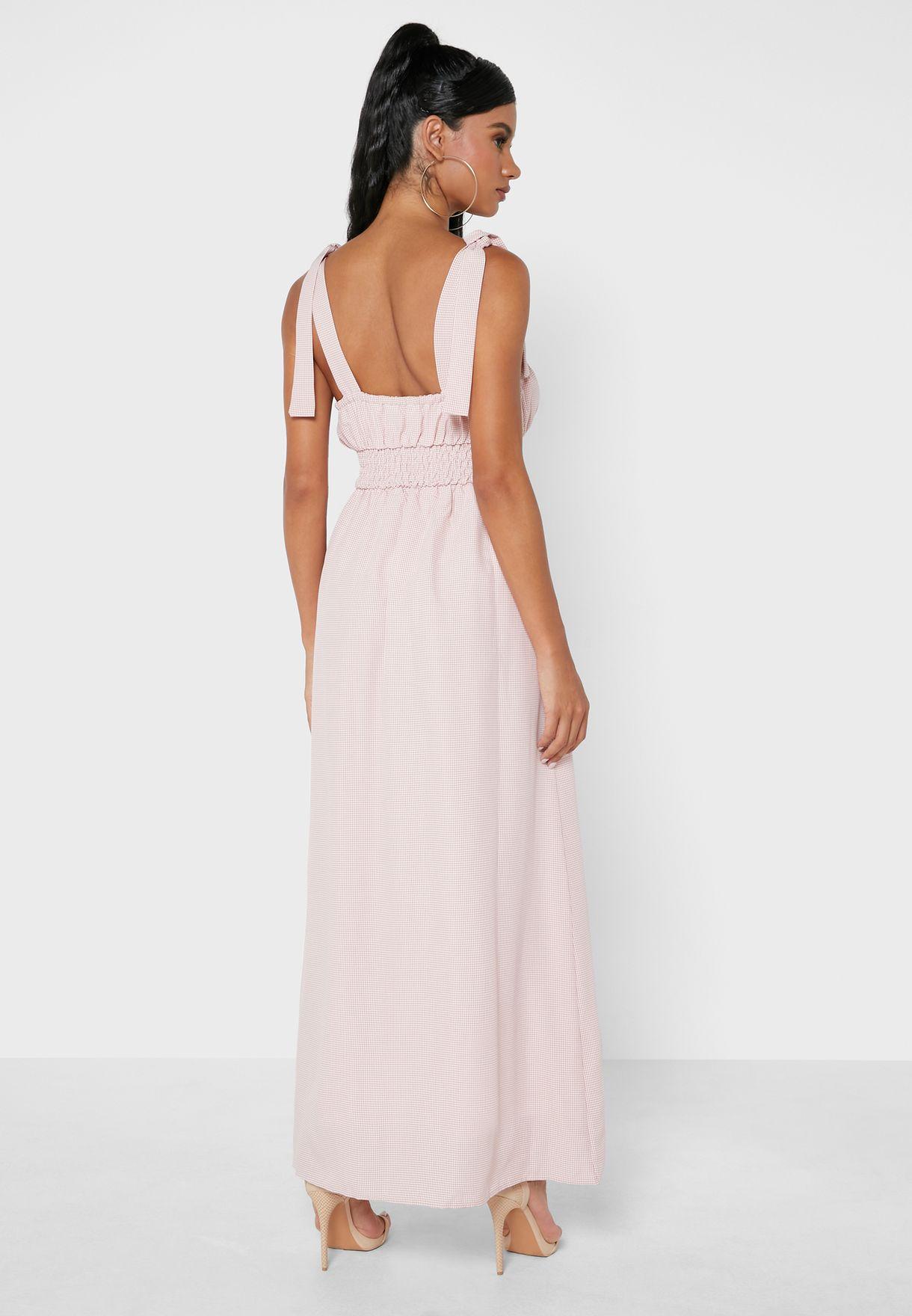 Pleated Shirred Dress