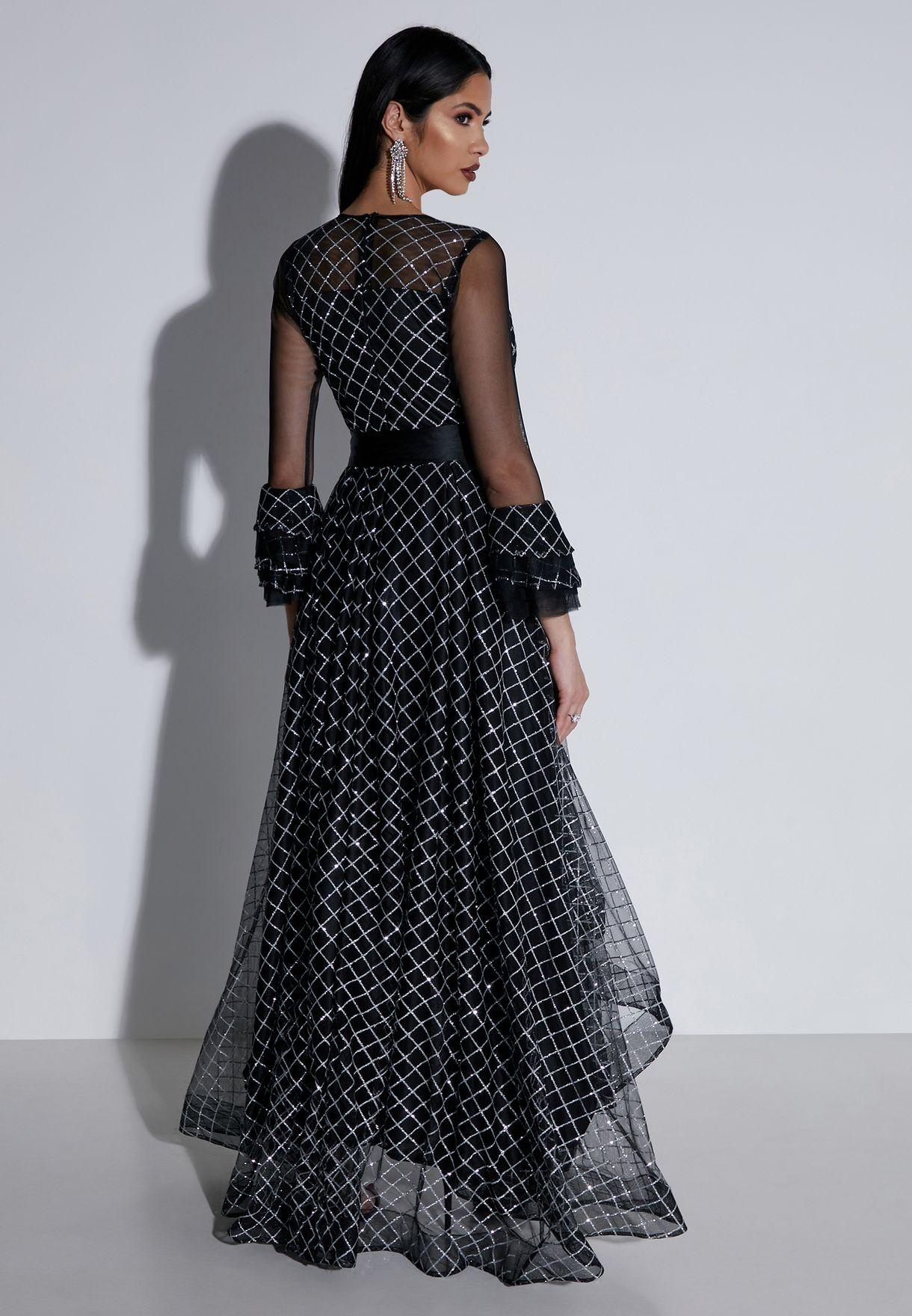 Metallic Checked Ruffle Self Tie Maxi Dress