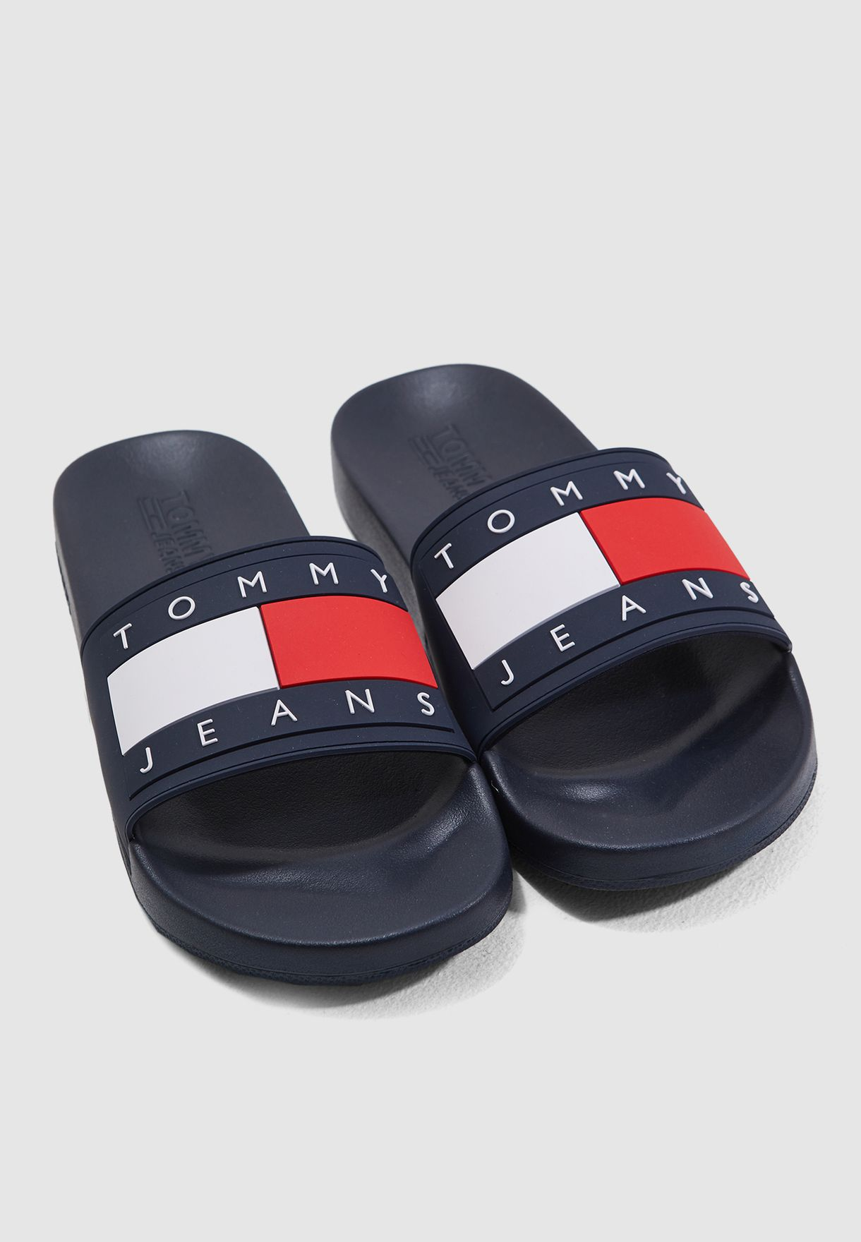 TOMMY HILFIGER FLAG Slides Sandals Flip Flops Pool Navy