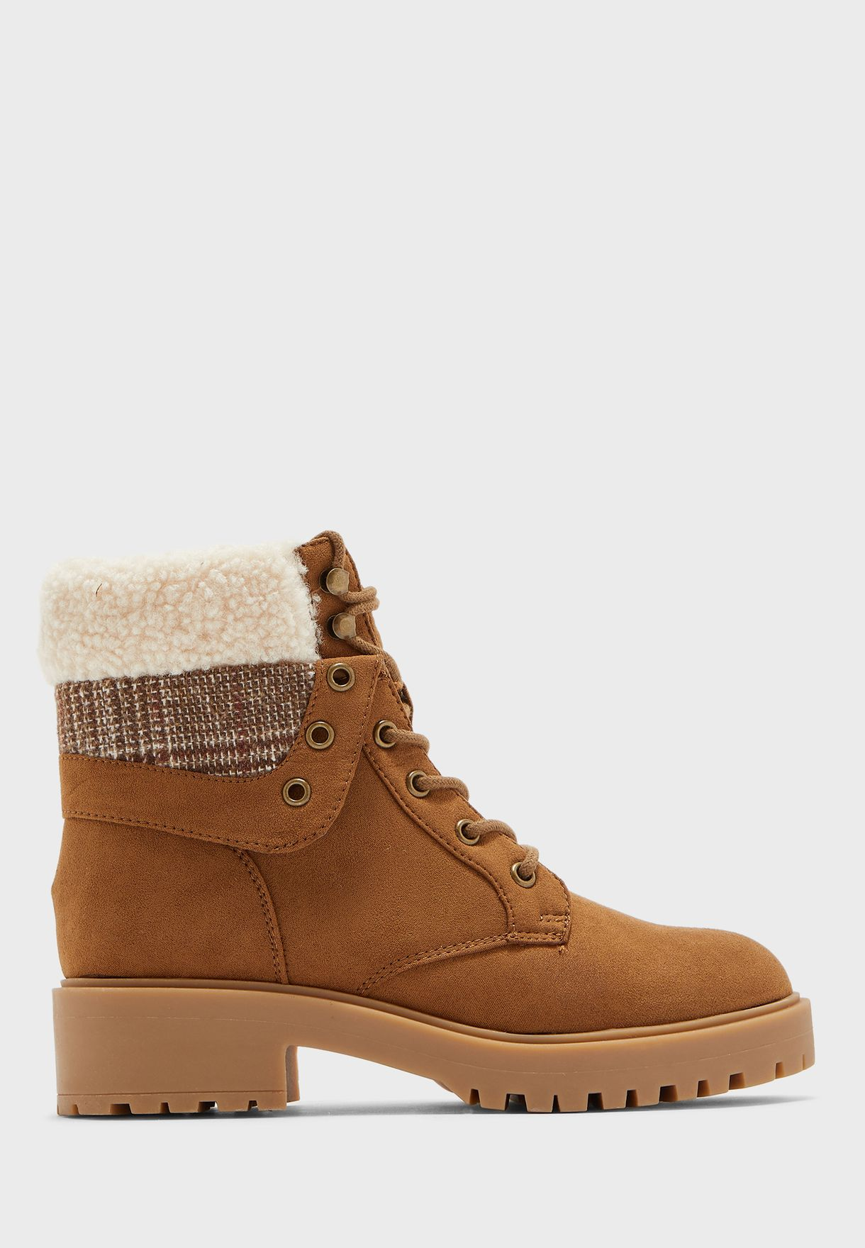 Fur Detail Lace Up Boot