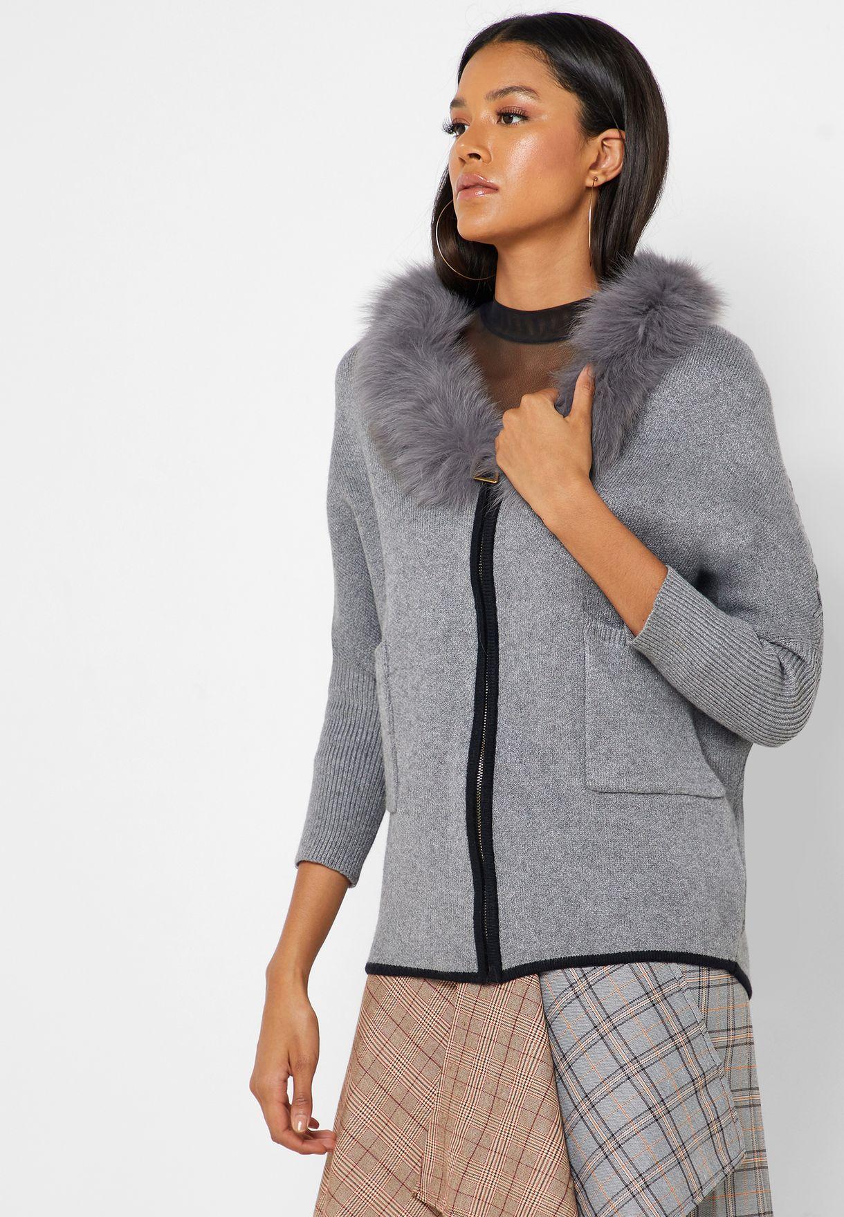 Fur Collar Zip Through Jacket