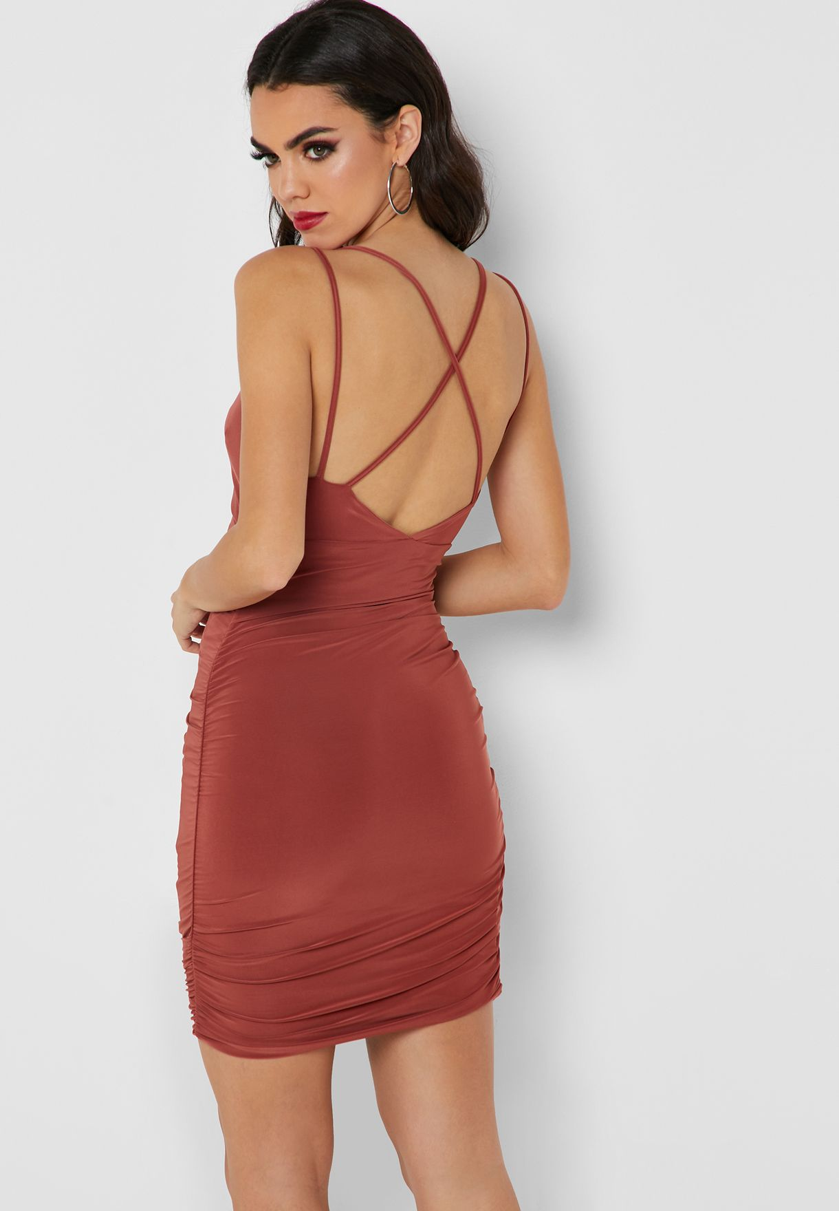 Ruched Bodycon Plunge Dress