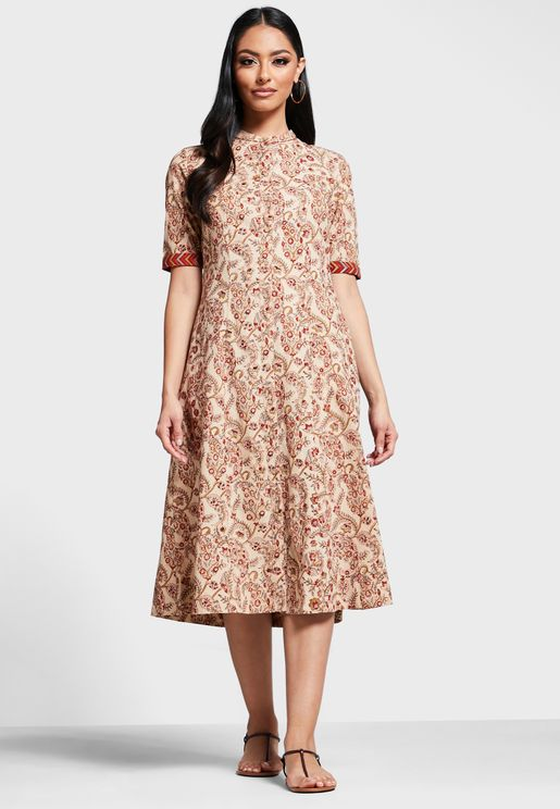 Cotton Printed Calf Length Dress