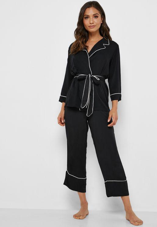 Tie Waist Shirt & Pants Pyjama Set