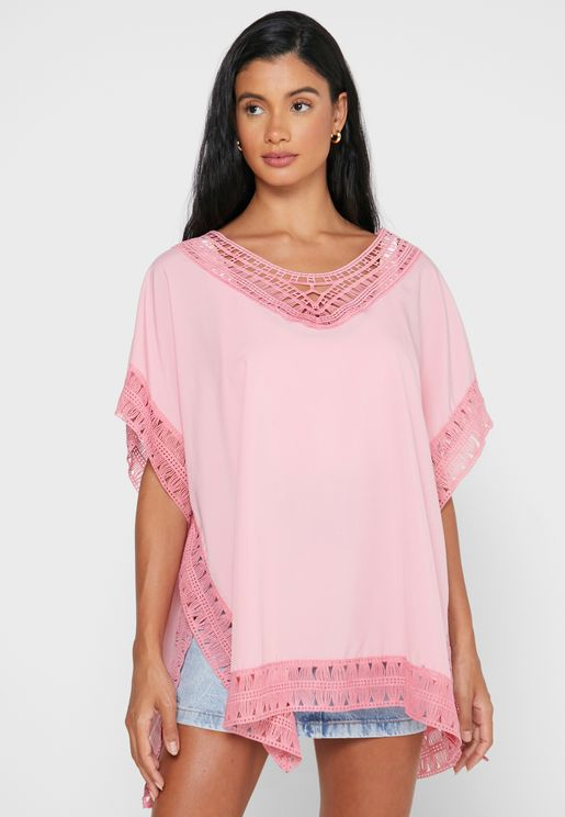 Embroidered Trim Cover Up