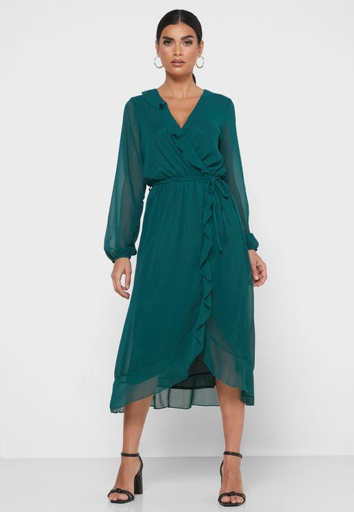 فستان لف بأطراف شفافة