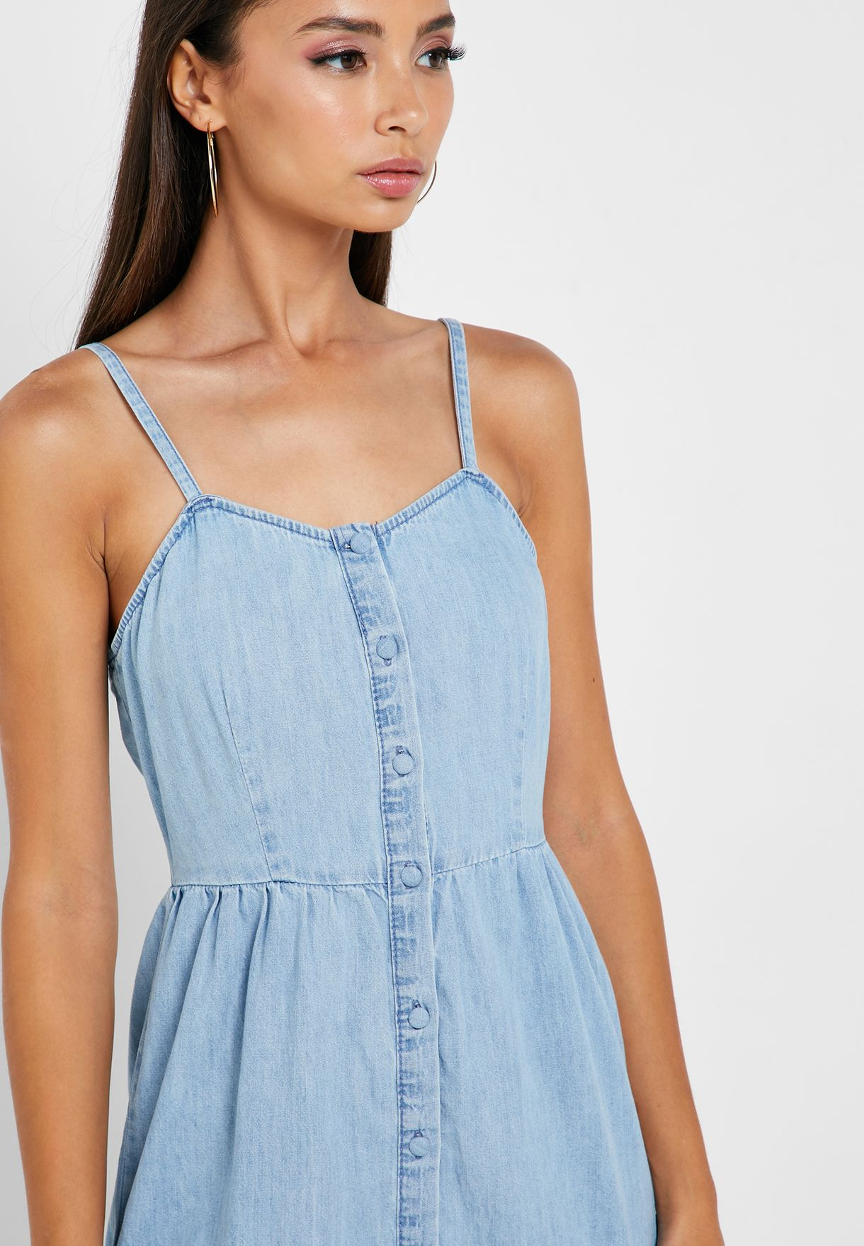 Tiered Denim Cami Dress
