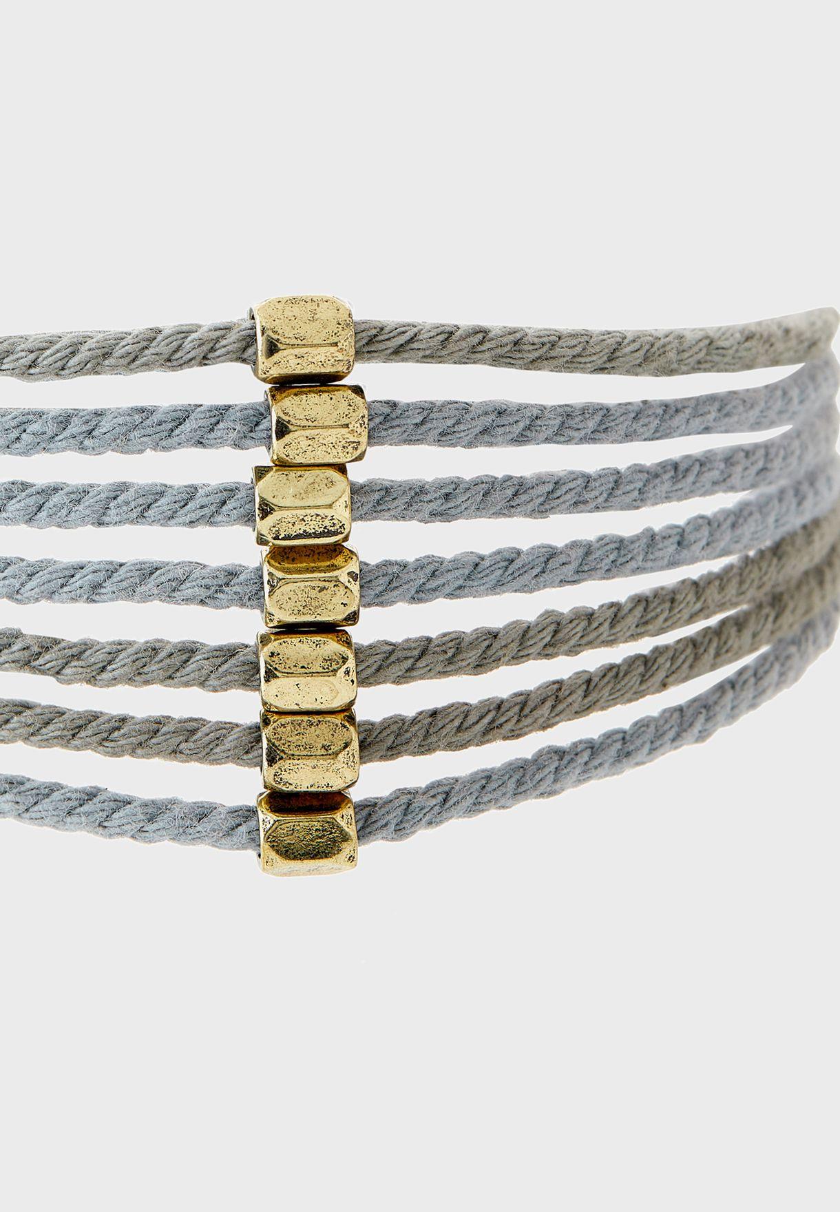 Icy Waters Cotton Cord Hexagonal Bracelet