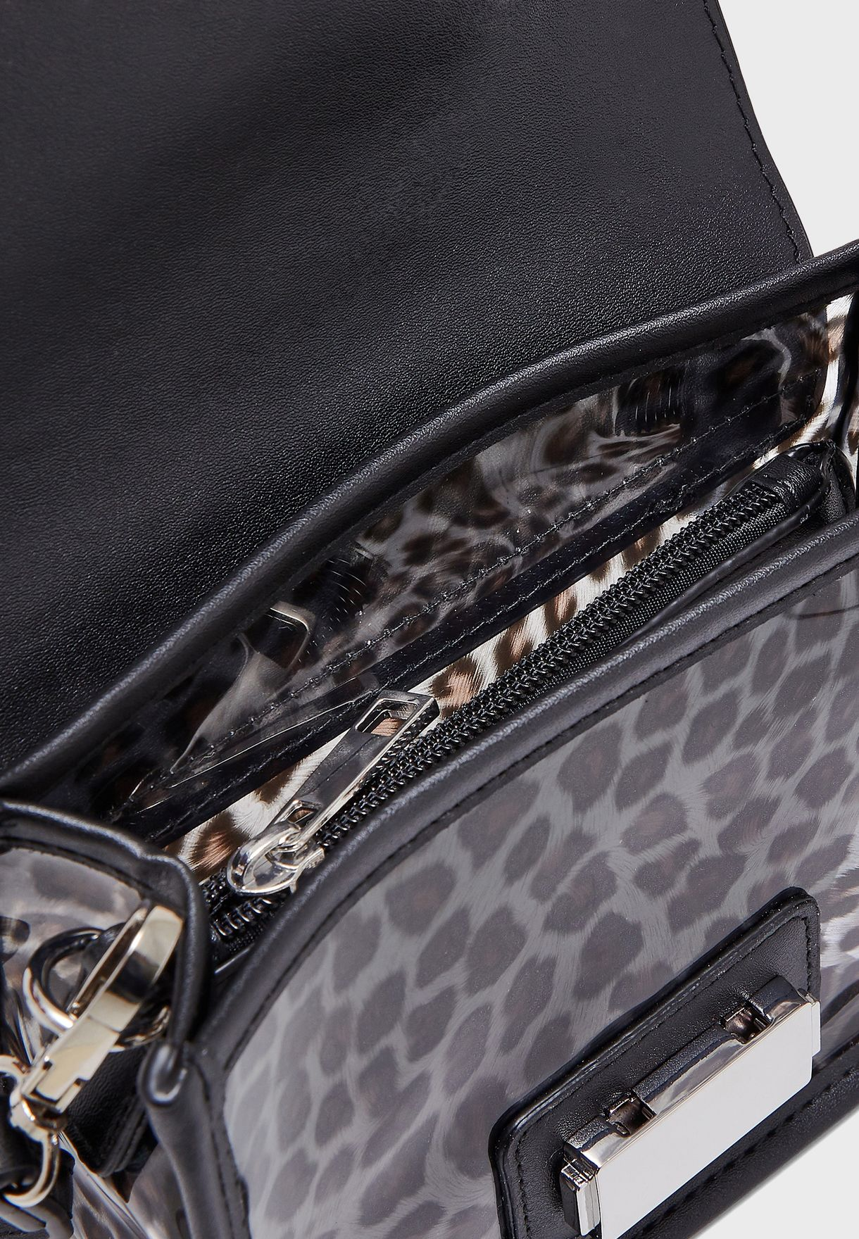 Celeste Clear Leopard Clutch