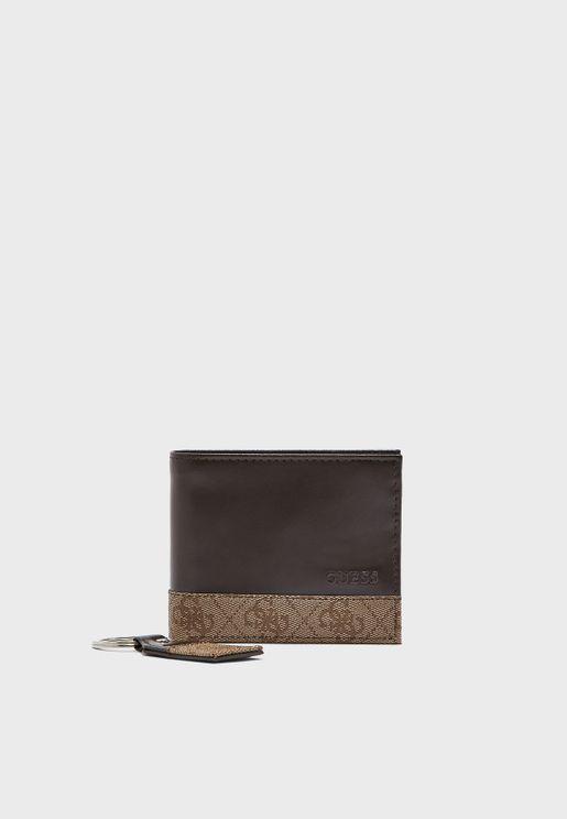 25a5ac781 مجموعة من محفظة جلد اصلي وحلقة مفاتيح