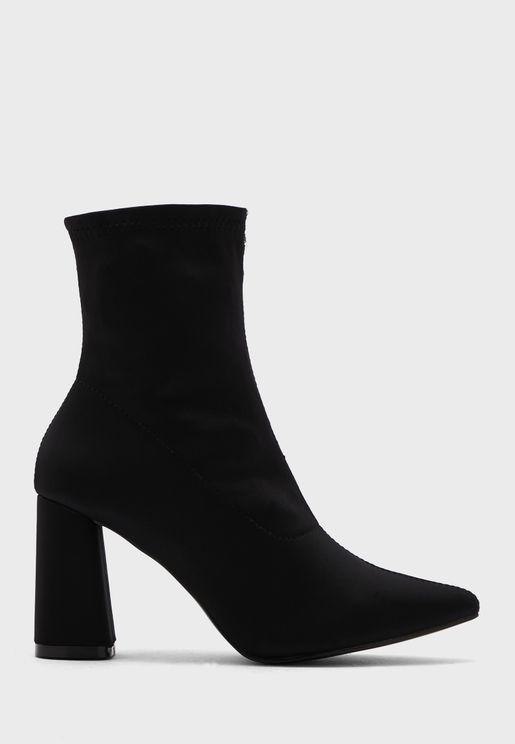 Pointed Sock Block Heel Boot