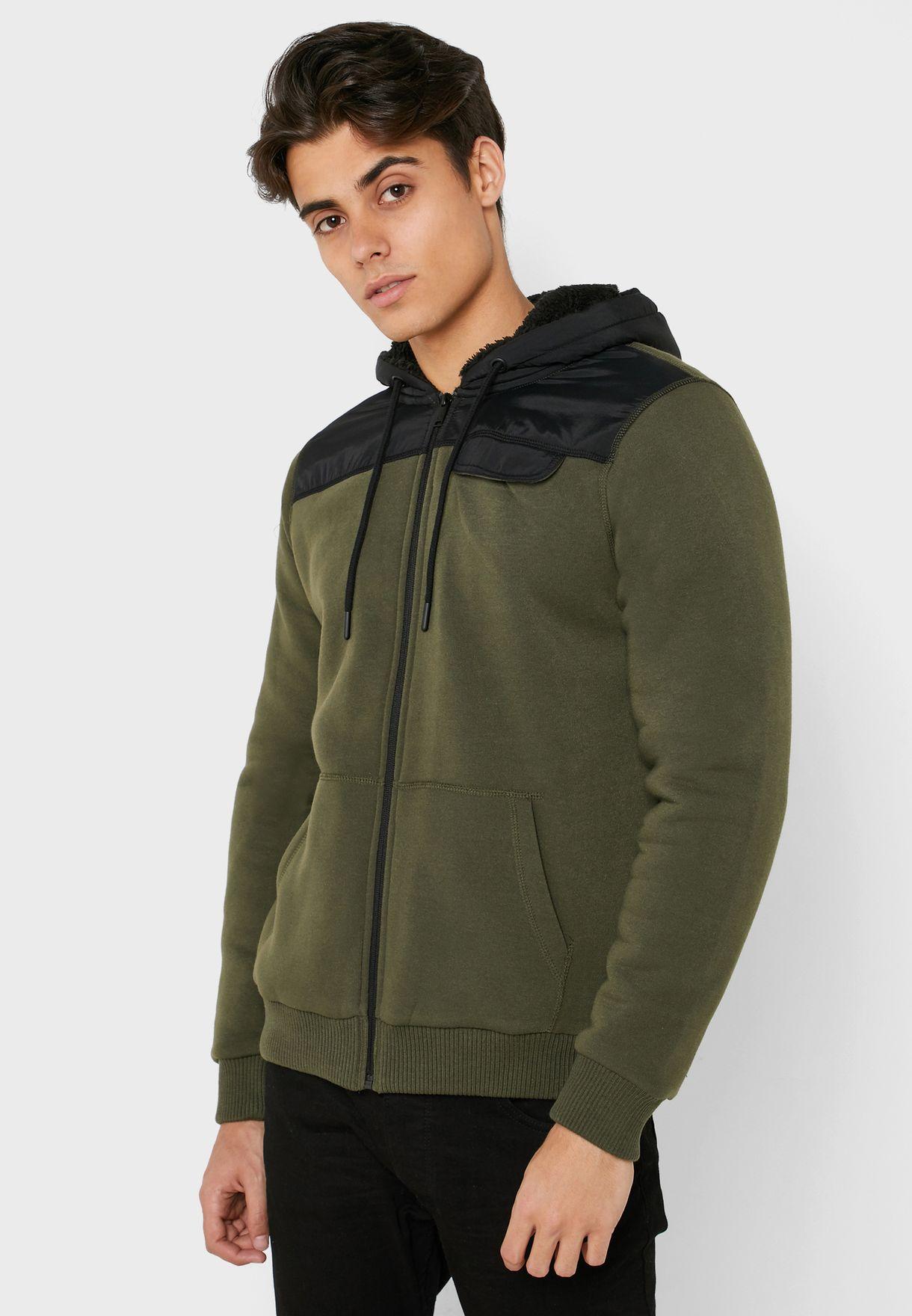 Color Block Zip Through Hoodie