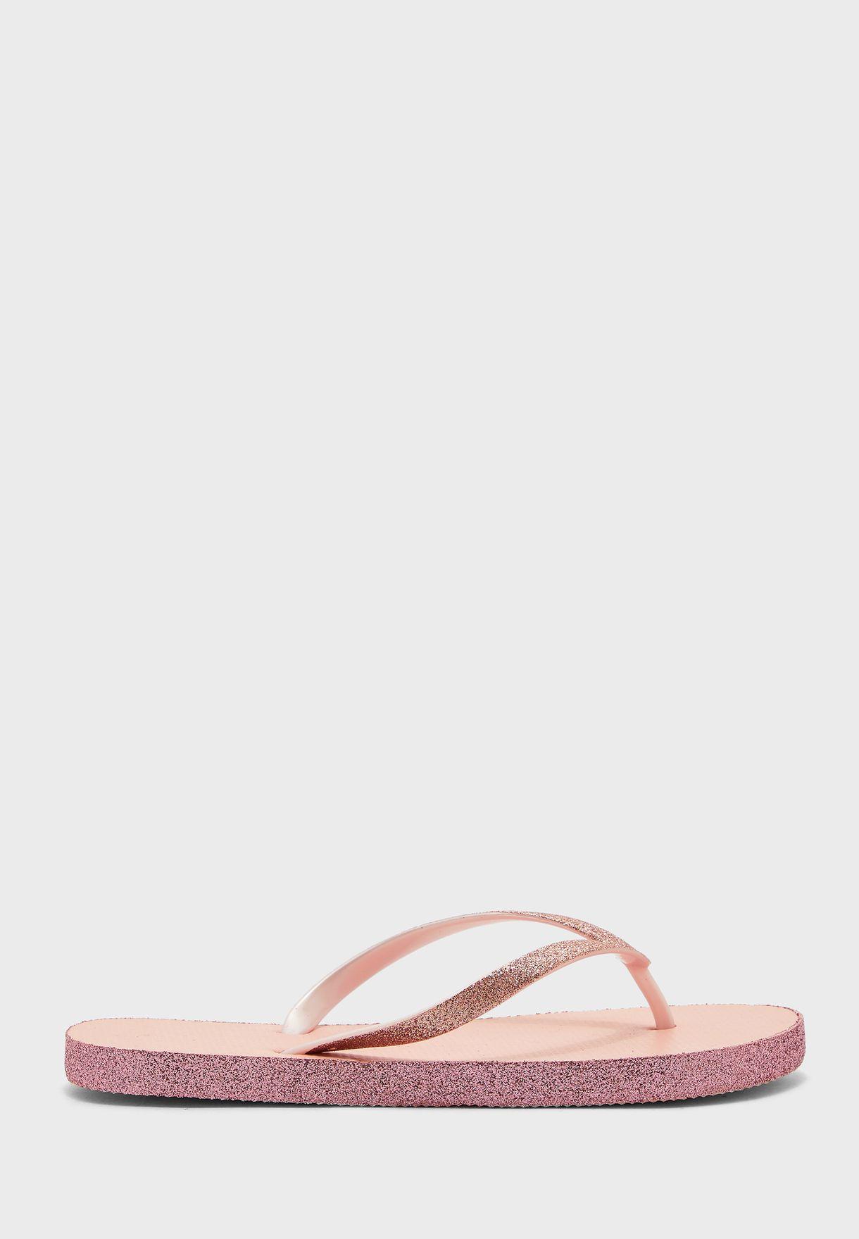 Ladies Plain  Flip Flop With Glitter Edge