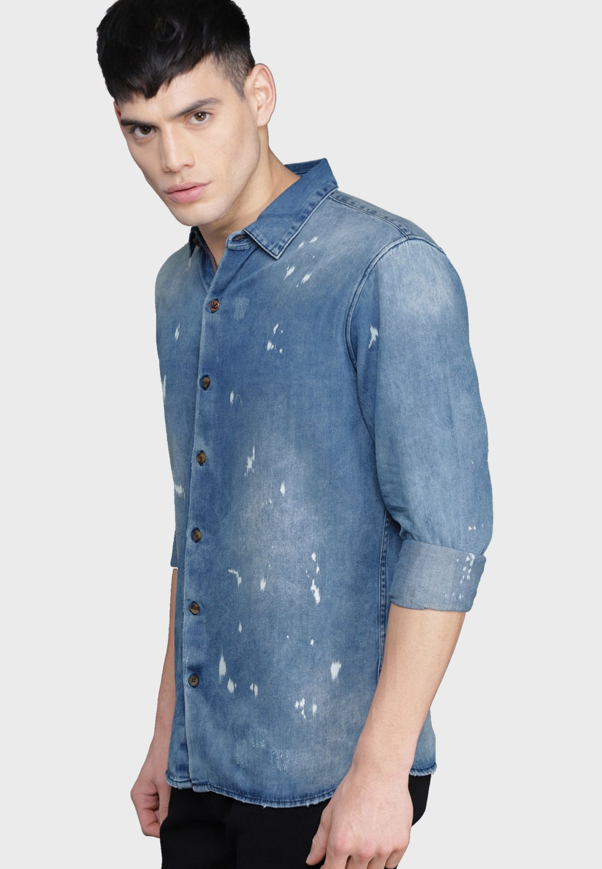 Faded Slim Fit Denim Shirt