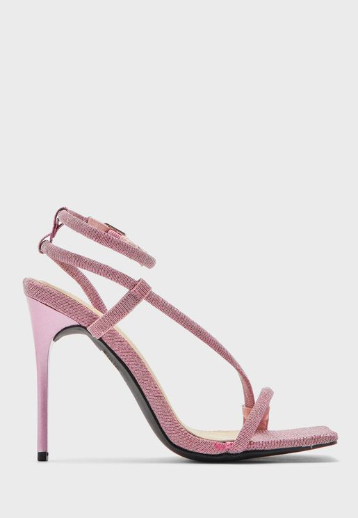 Glitter Strappy Square Toe Stiletto Sandal