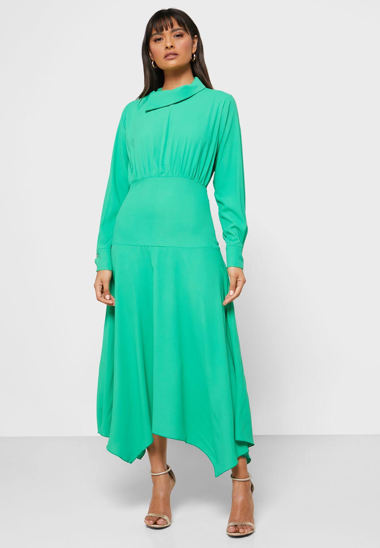 فستان ميدي باكمام طويلة