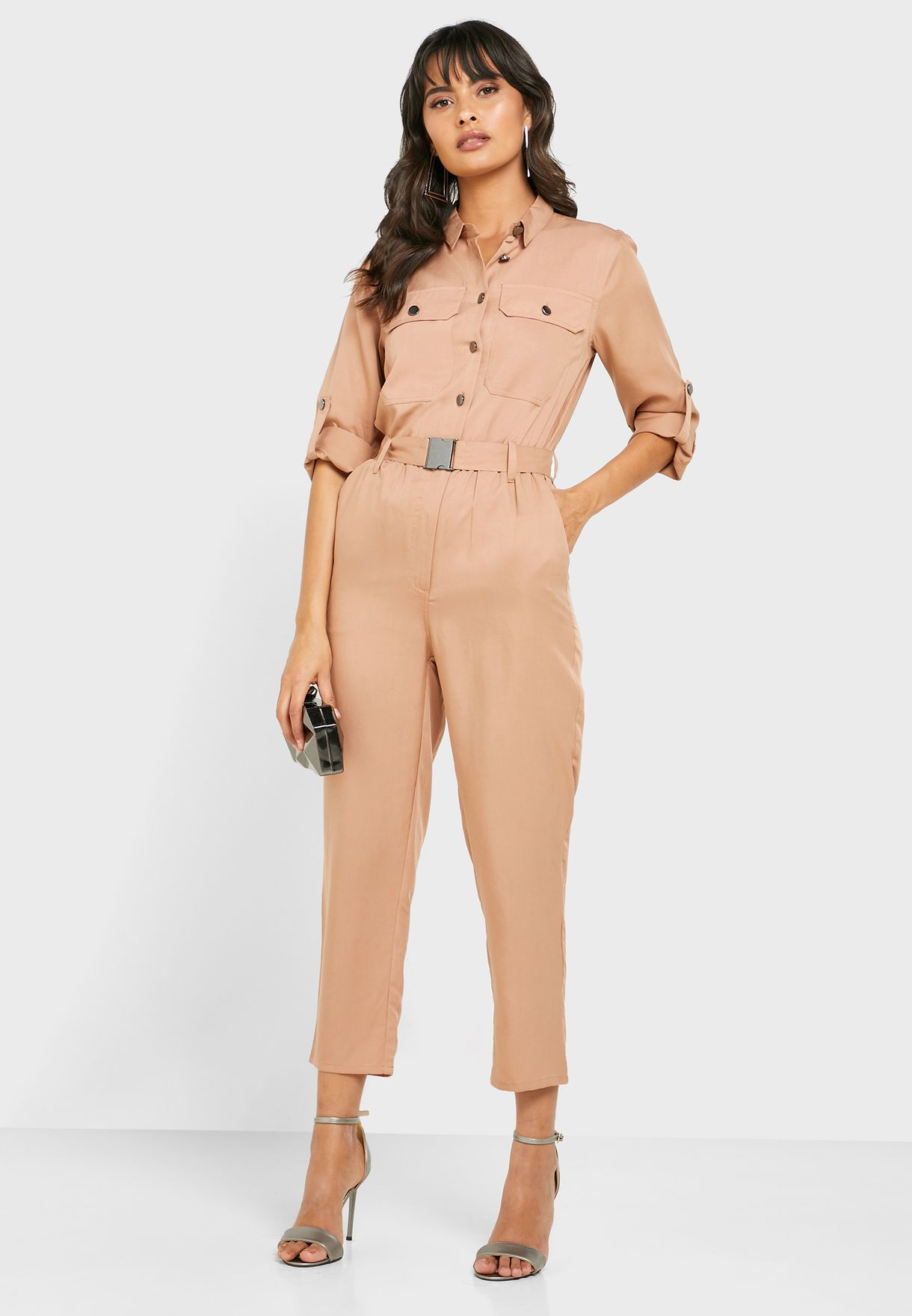 Belted Shirt Jumpsuit