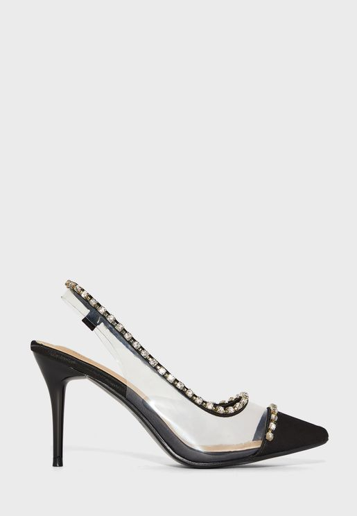 Pointed Perplex Slingback Stilettos With Diamante Trim