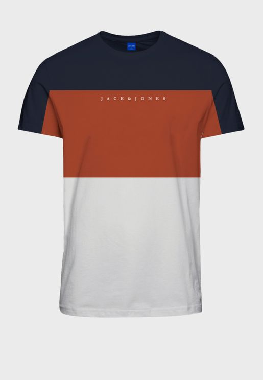 Color Block Regular Fit Crew Neck T-Shirt