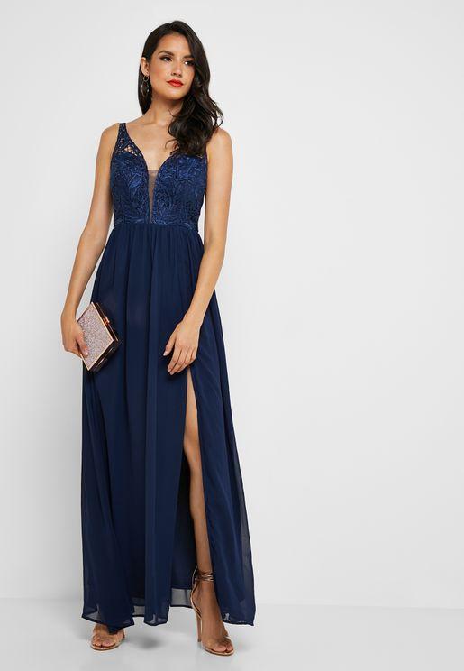 Front Split Lace Plunge Dress