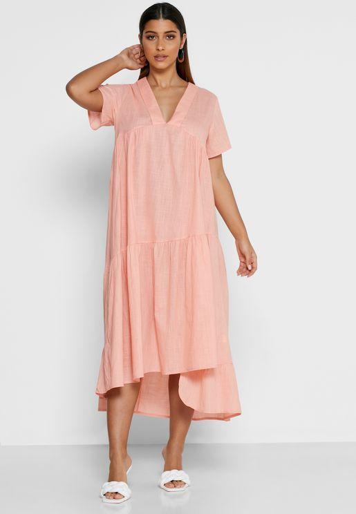 فستان ميدي بياقة V