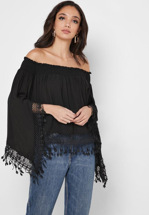 Bardot Fringe Detail Top