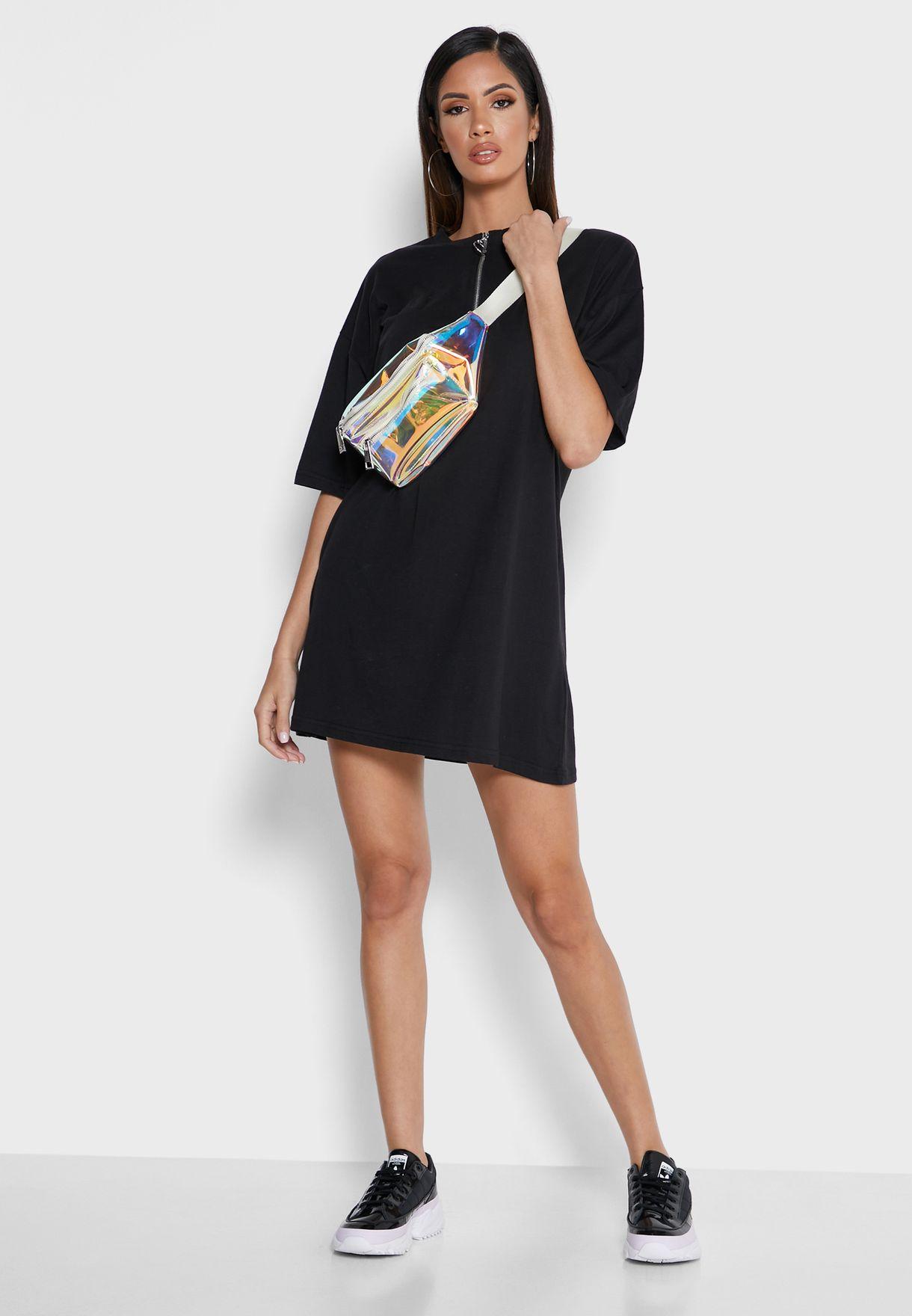 Zip Detail Graphic T-Shirt Dress