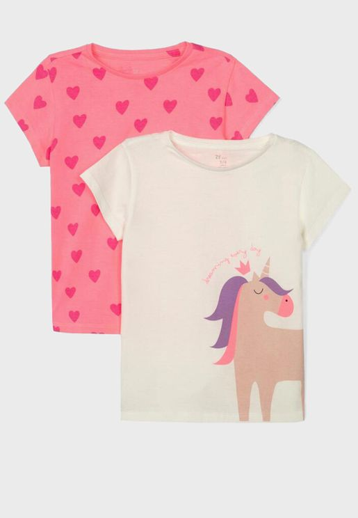 Kids 2 Pack Printed T-Shirt