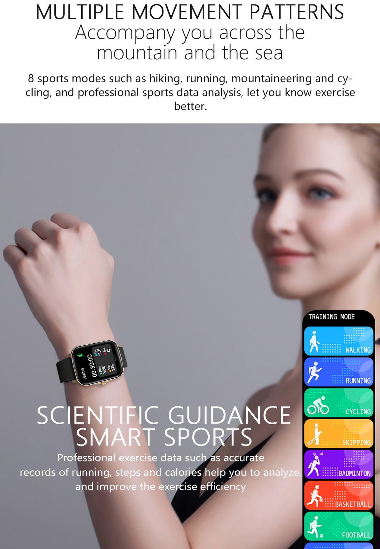 ساعة ذكية مع معدل ضربات القلب الديناميكي وميزات متعددة
