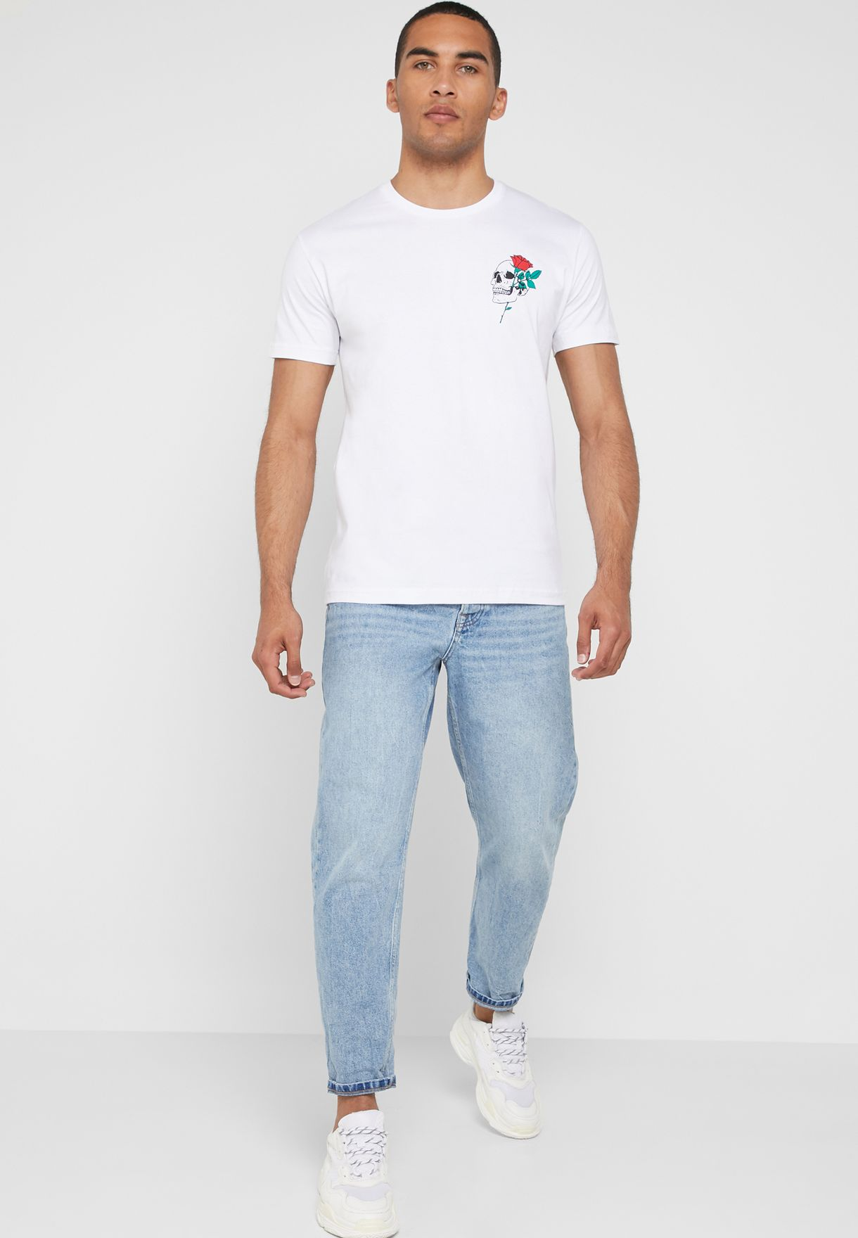 Skull Rose Logo  Crew Neck T-Shirt