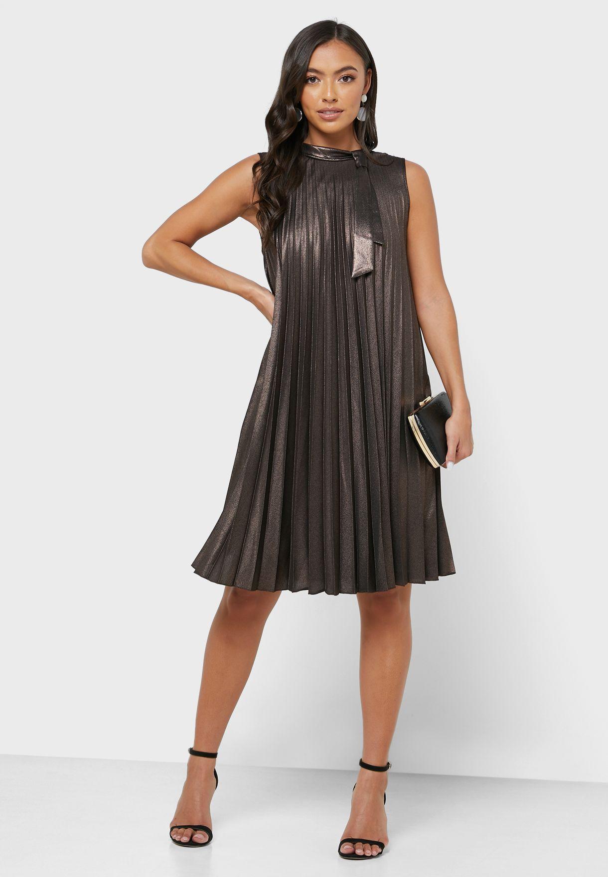 Tie Neck Metallic Pleated Dress