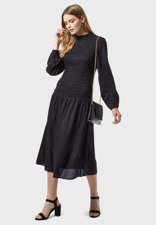 Shirred Pleated Dress