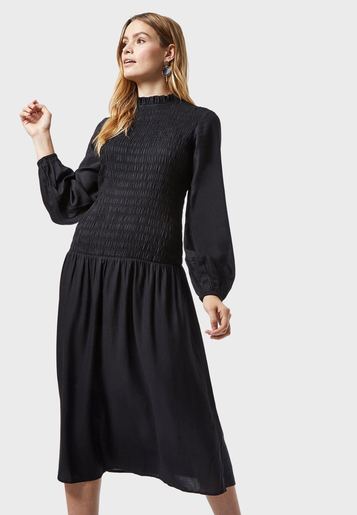 Shirred Pleated Dress