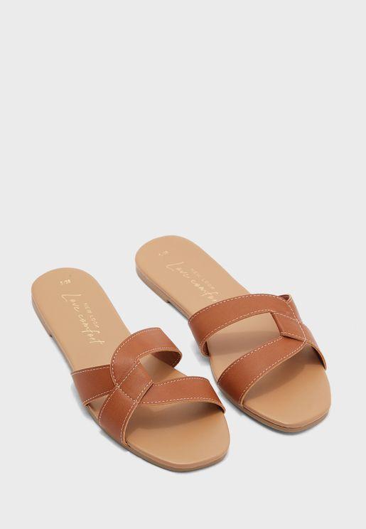 Feliz Cross Strap Flat Sandal